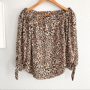 Premise Studio Animal Print Off Shoulder Top